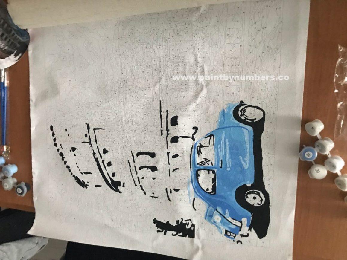 Rome Colleseum with blue car