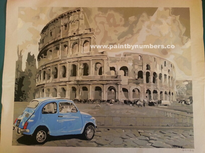 Rome Colleseum with blue car01