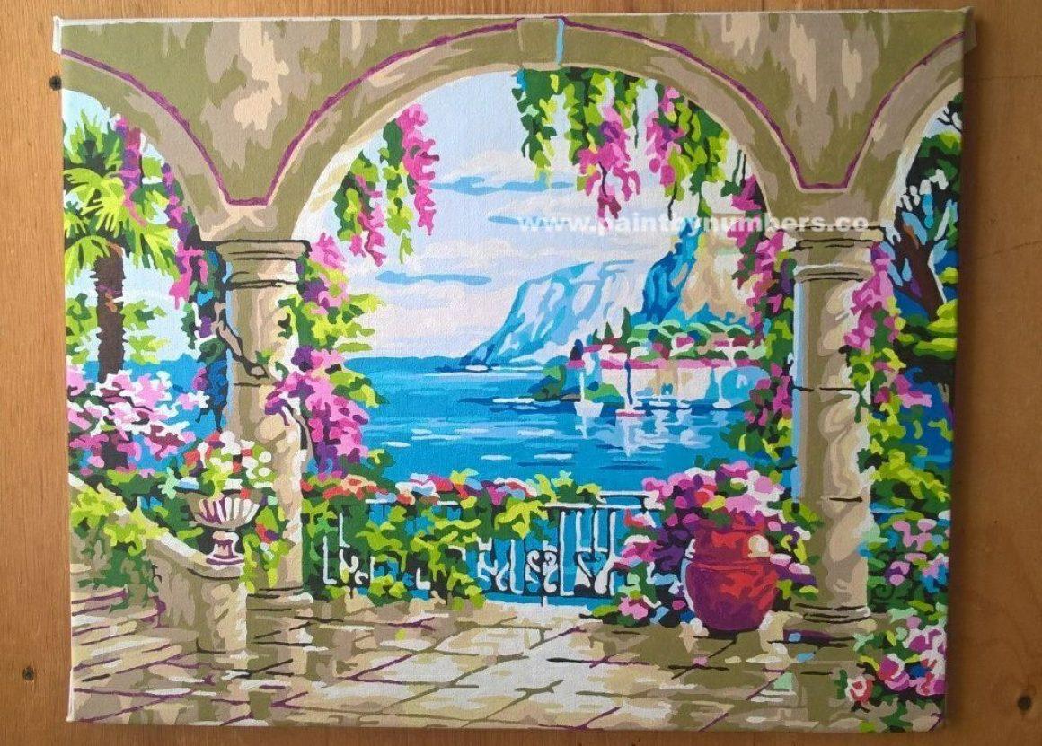 Serene pillars in overlooking sea