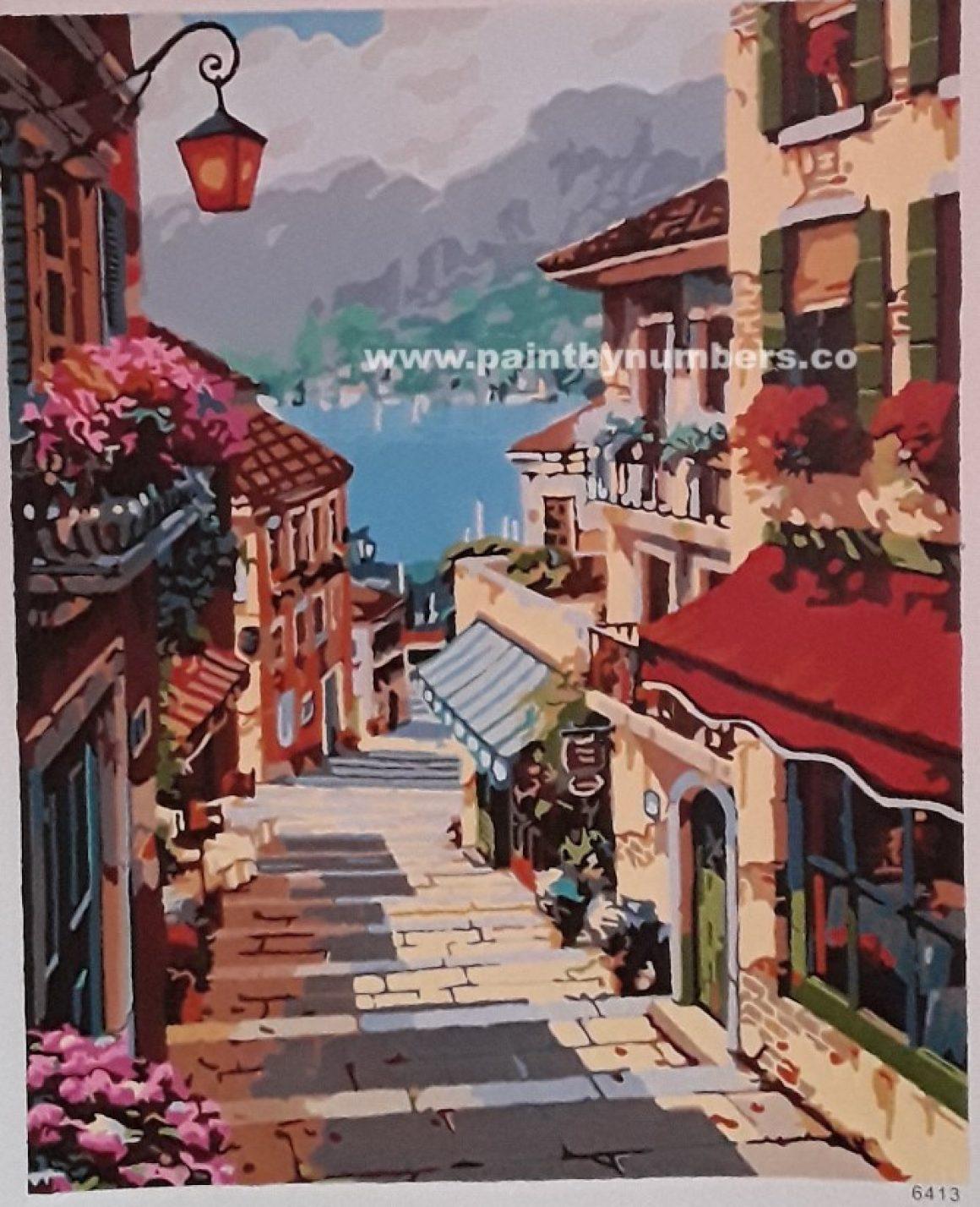 Serene village featuring a brick road4