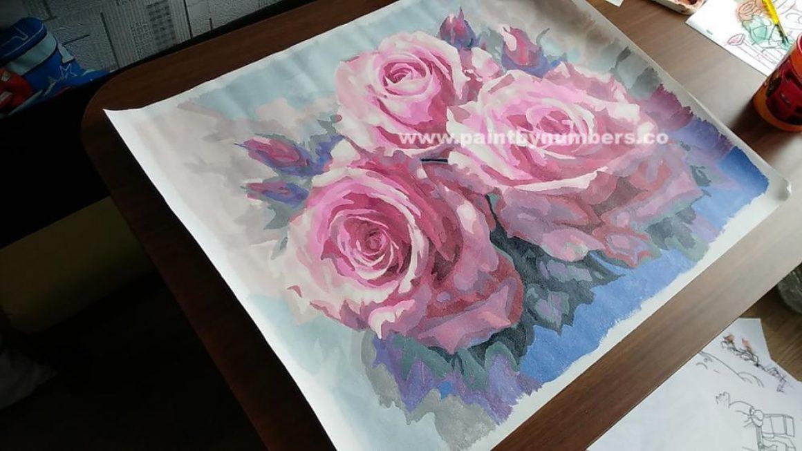 Three Pink Roses in Full bloom