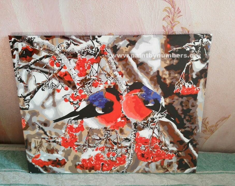 Two blue and red birds sitting on a tree002
